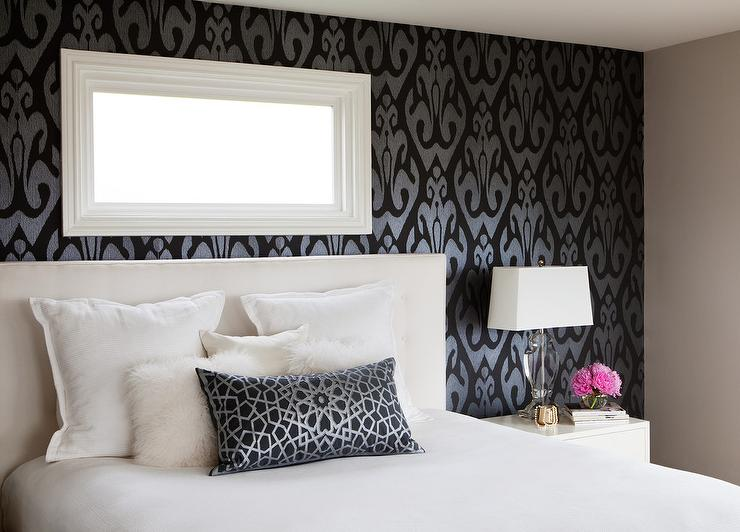 Bedroom with black and silver ikat wallpaper for Black and silver bedroom designs