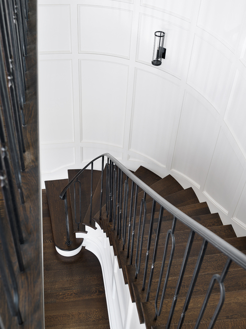 Curved Staircase Wall With Board And Batten Transitional