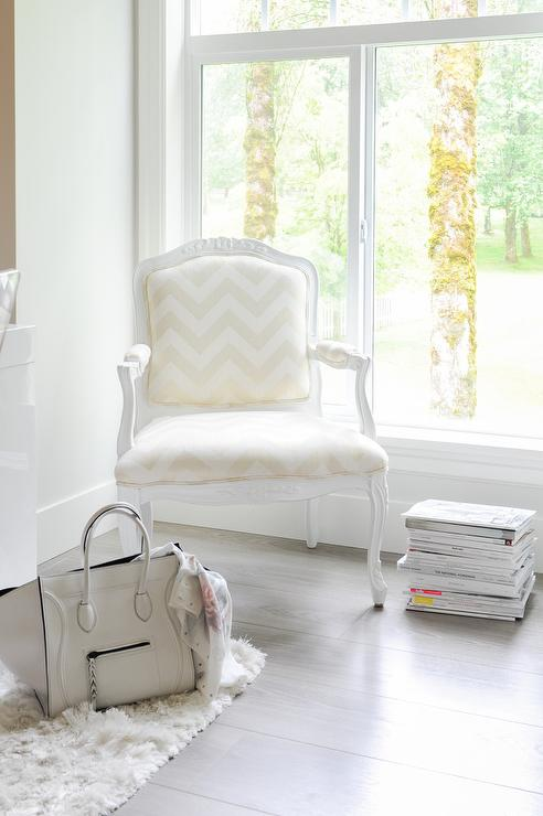 Chic Living Room Features A Corner Reading Chair French Chevron Placed In Front Of Window