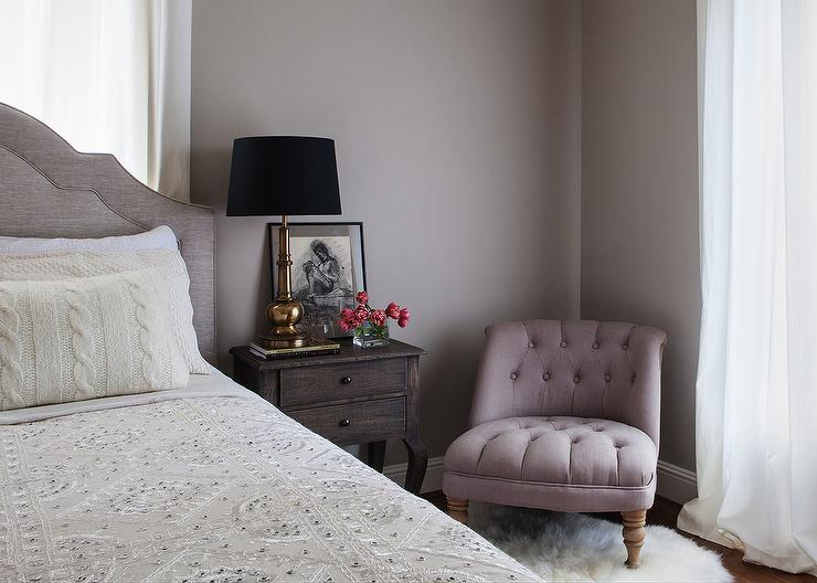 Gray and Purple Bedrooms view full size. Nightstand In Front Of Window Design Ideas
