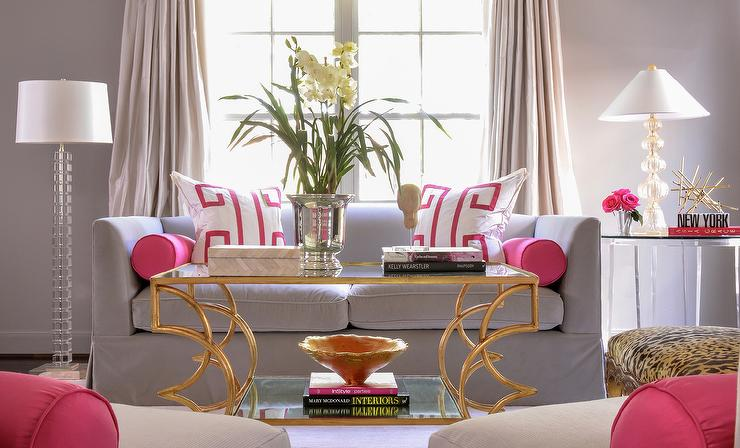 Pink and Gray Living Room Contemporary living room Rue Magazine