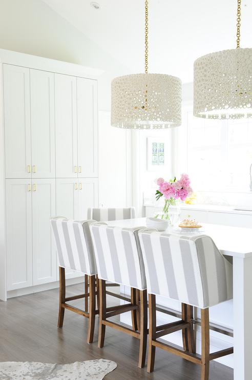 Striped Counter Stools Contemporary Kitchen