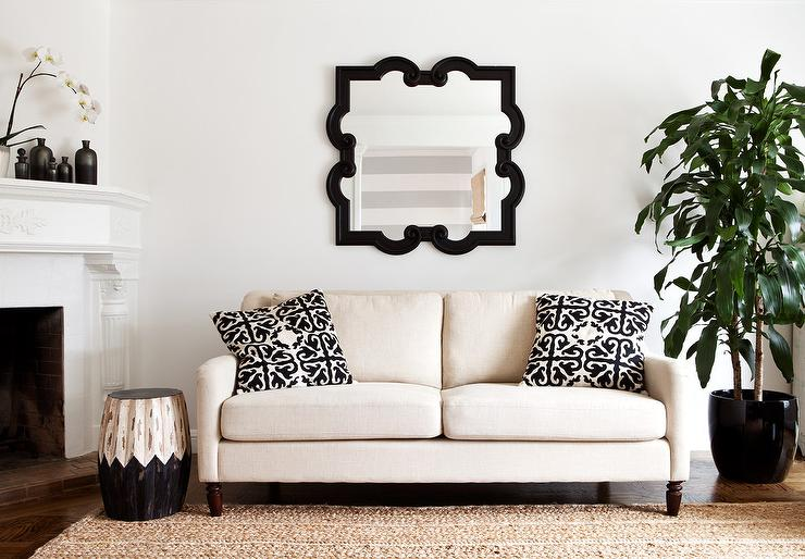 Ivory sofa with black pillows transitional living room for Ivory couch living room ideas