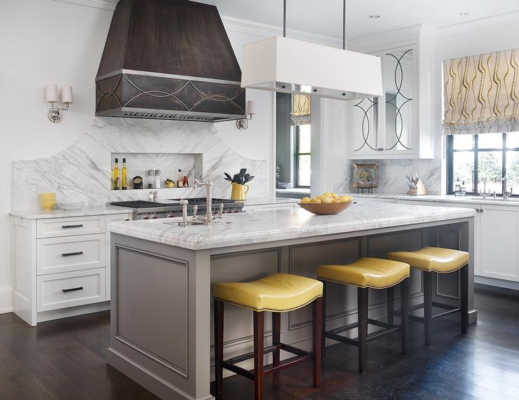 Yellow and gray kitchen ideas transitional kitchen for Grey yellow kitchen ideas