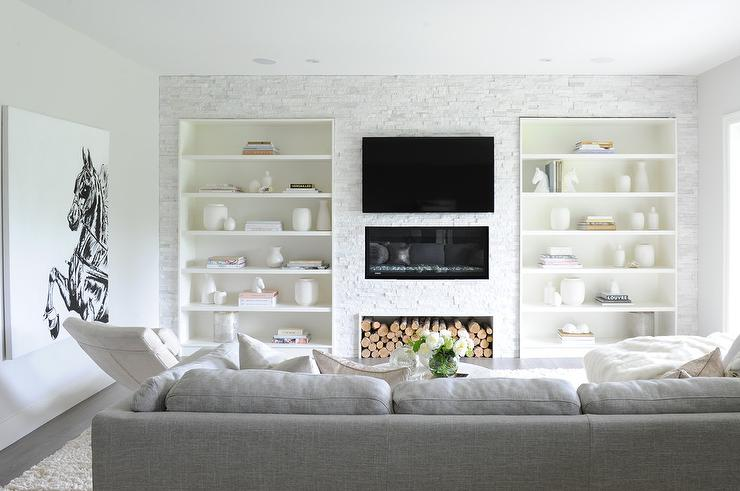 Built In Shelves Flanking Fireplace Design Ideas