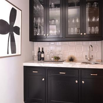 Black Glass Front Butler Pantry Cabinets