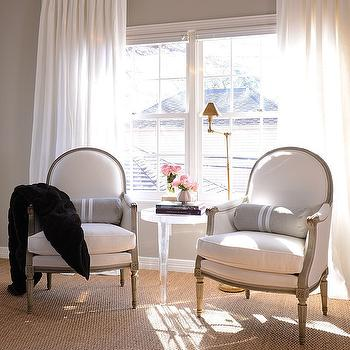 Bedroom Sitting Area with French Chairs and Lucite Table & French Accent Chairs Design Ideas