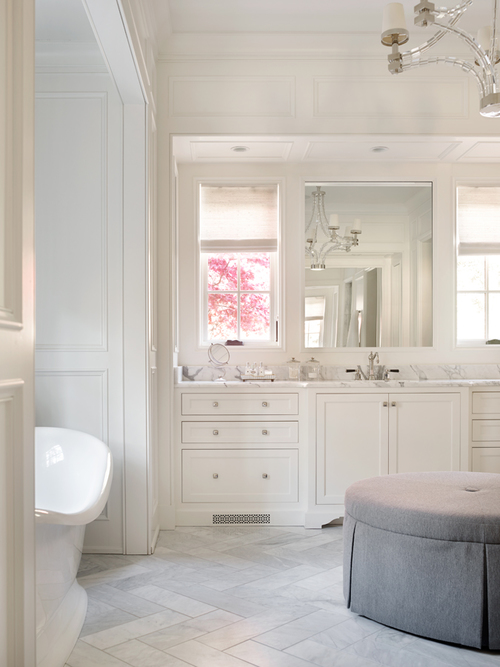 Gray And White Bathroom With Clear Beaded Pendant Over