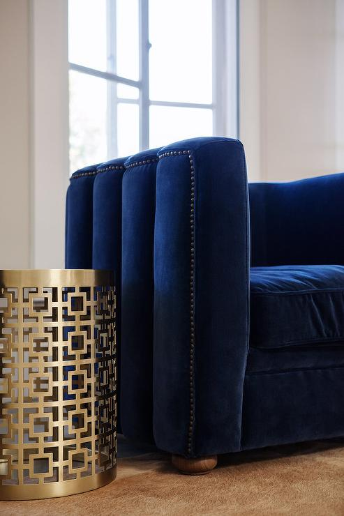 Famous Navy Velvet Armchair - Contemporary - Living Room TA93