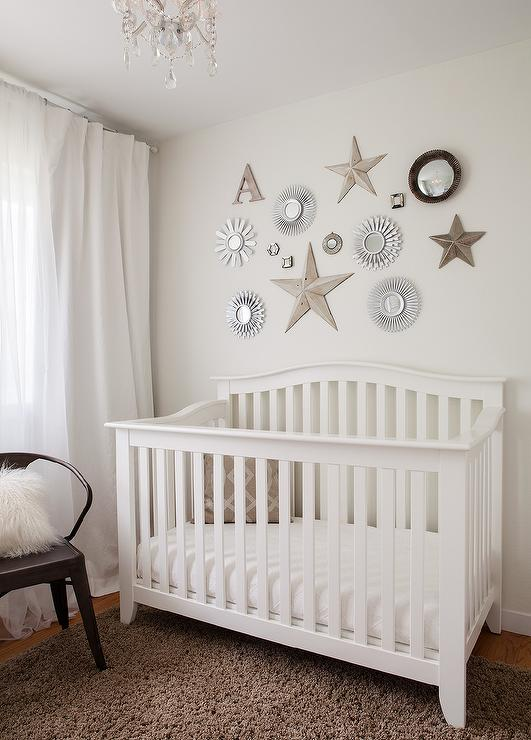 Mirrors over crib transitional nursery for Above the crib decoration ideas