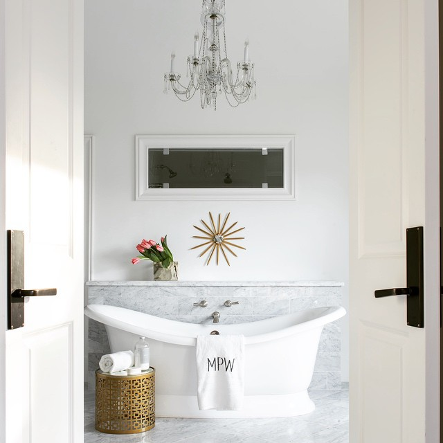tub with built in marble shelf  transitional  bathroom, Home design