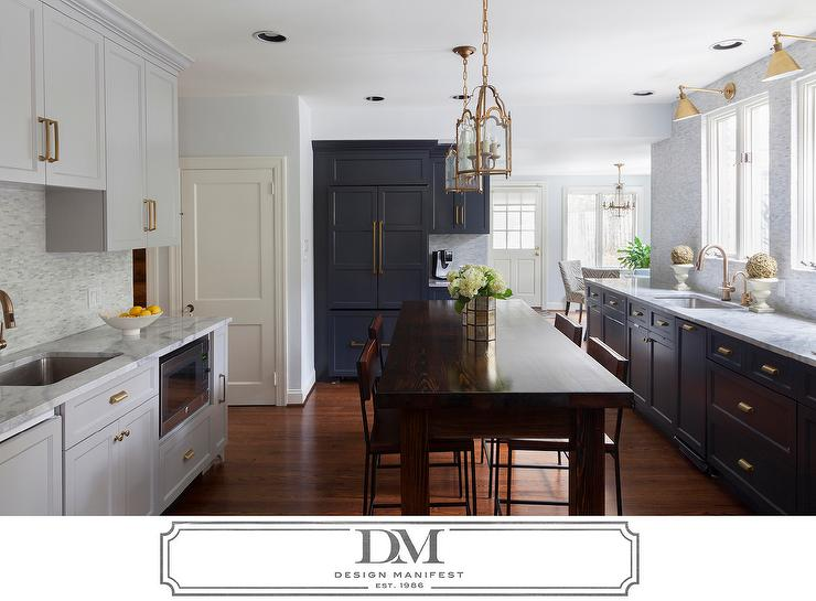 Dark gray kitchen cabinets with brass pulls transitional for Dark grey kitchen units