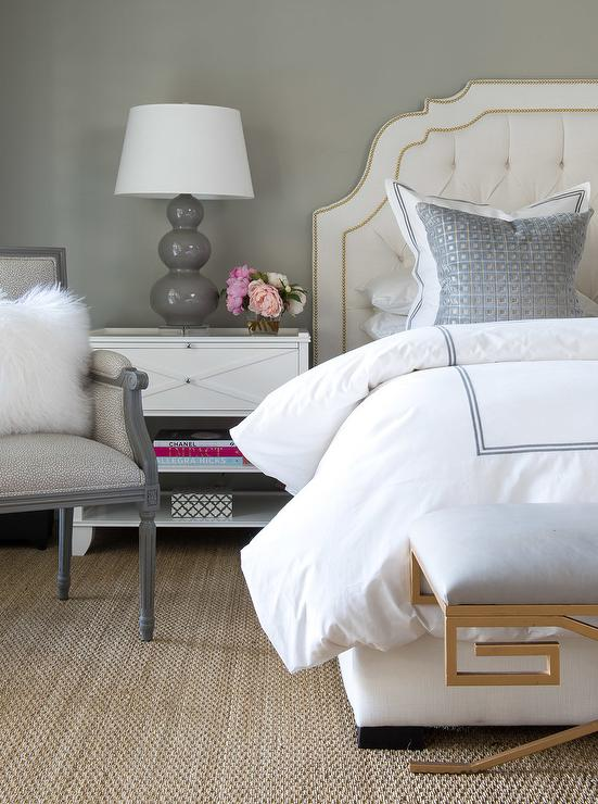 Blush pink headboard with white and gray bedding transitional bedroom - Grey and gold bedroom ...