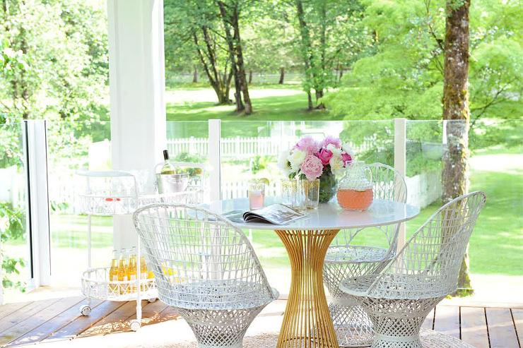 Brass And Marble Dining Table Contemporary Deckpatio - White wicker round dining table