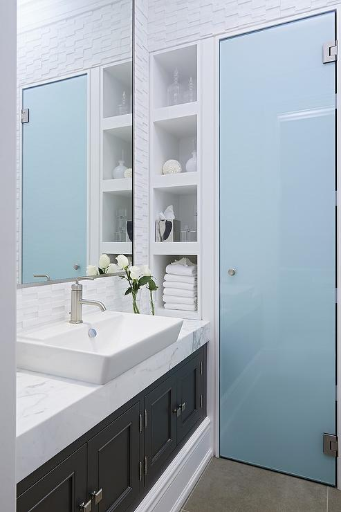 bathroom with frosted glass shower door contemporary