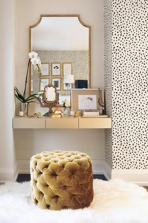 Gold Floating Makeup Vanity - Transitional - Bedroom