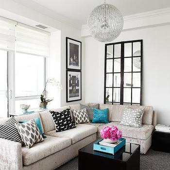 Light Grey Crushed Velvet Sofa With Turquoise Pillows