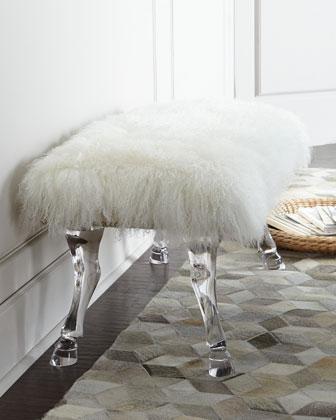 massoud centaur white sheepskin bench. Black Bedroom Furniture Sets. Home Design Ideas