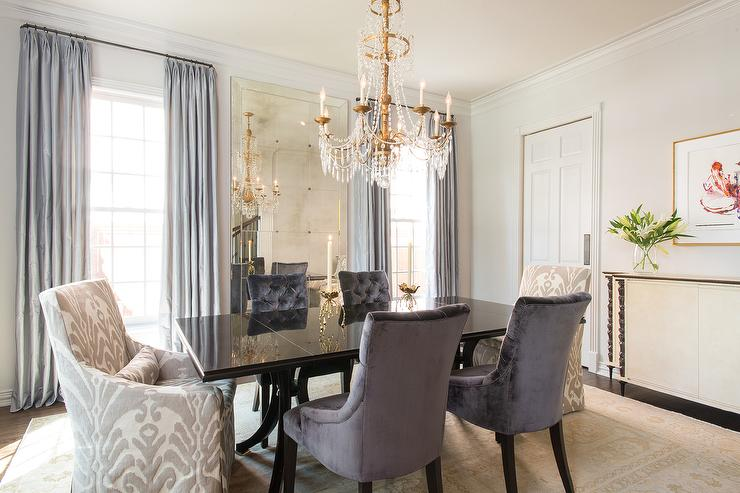 Gray Velvet Tufted Dining Chairs Design Ideas