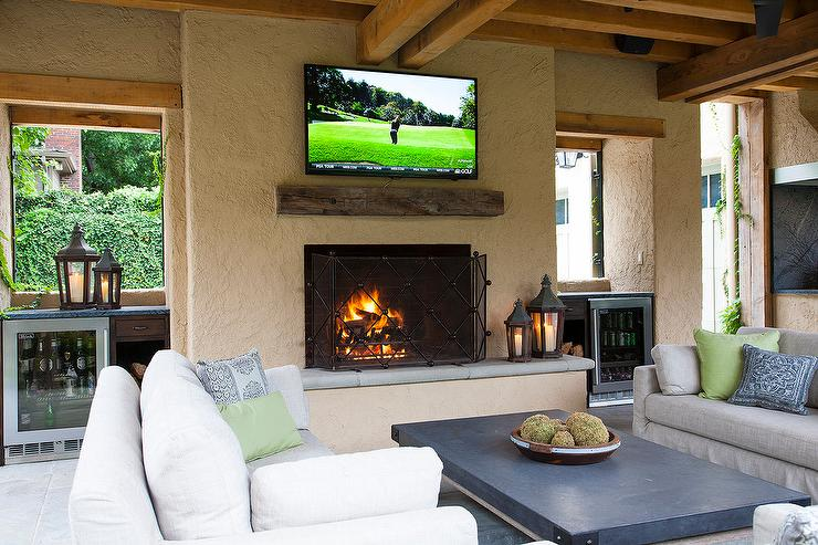 Outdoor Fireplace Tv on Covered Porches And Outdoor Kitchen