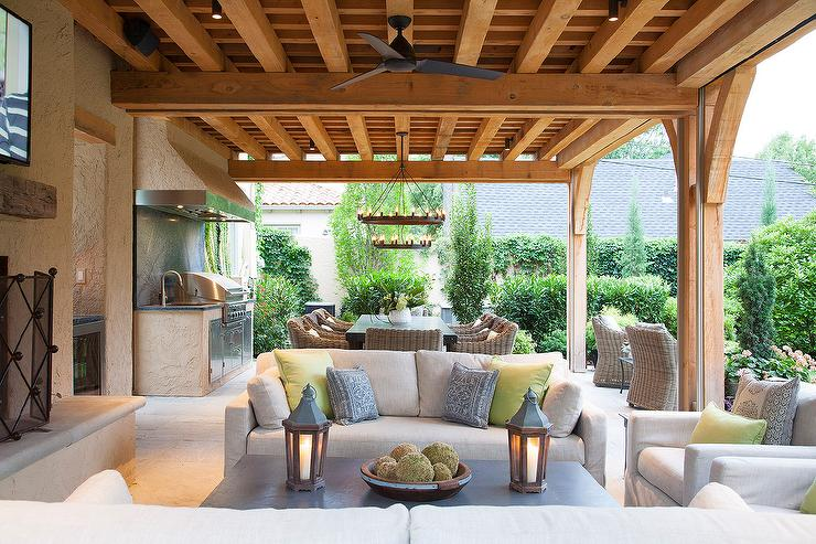 Covered patio with outdoor kitchen and zinc outdoor dining for Outdoor living space designs