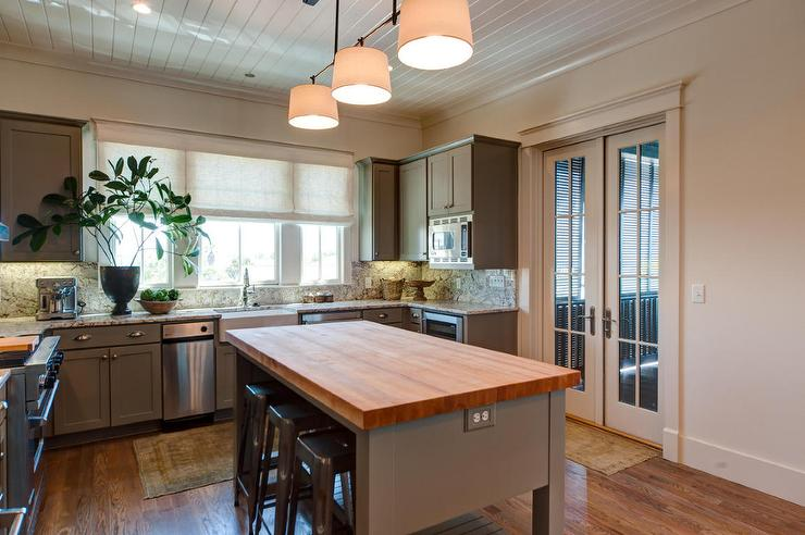 butcher block island with tolix stools cottage kitchen