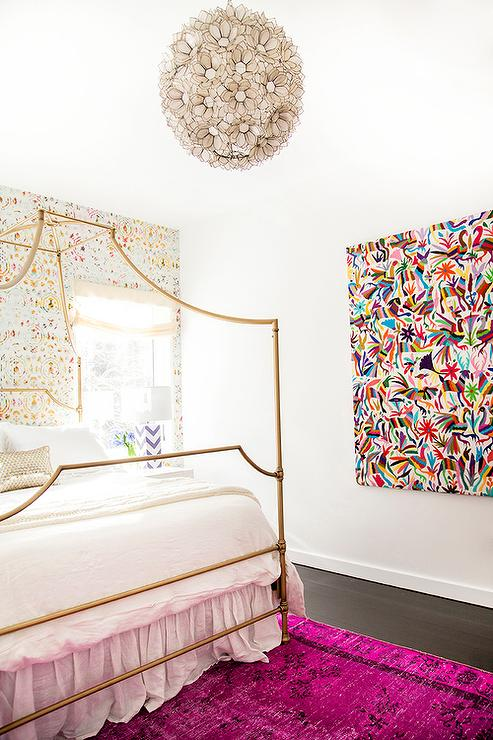 ... features an accent wall clad in colorful wallpaper lined with a gold canopy bed dressed in soft white bedding and a gold metallic pillow atop a hot pink ... : hot pink canopy - memphite.com