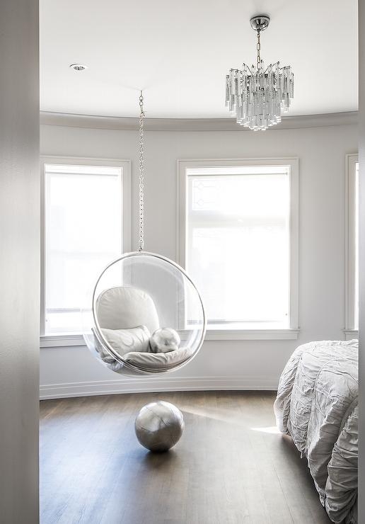 Bedroom with Acrylic Bubble Hanging Chair Contemporary