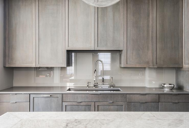 Grey Wash Kitchen Cabinets Grey Quartz Countertop