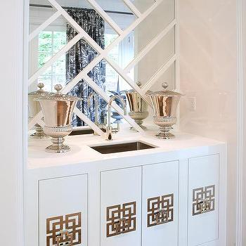 Superieur Wet Bar Cabinets With Geometric Hardware