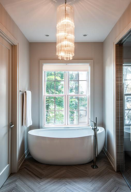 Egg Shaped Tub Under Window Contemporary Bathroom