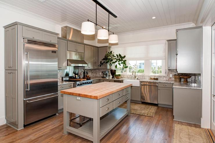 Freestanding gray kitchen island with butcher block top - Small butcher block island ...