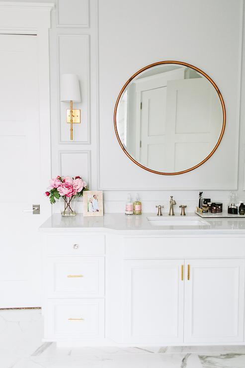 Gray Bathroom Wall Moldings  Transitional  Bathroom