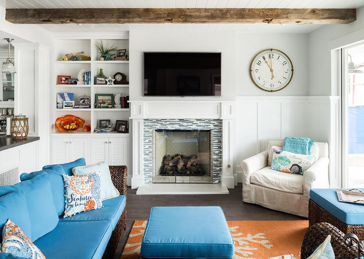 Cottage Living Room Features A Beadboard Ceiling Lined With Rustic