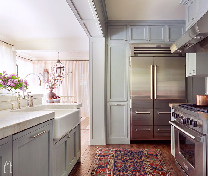 Blue Gray Kitchen Paint: Floor To Ceiling Gray Kitchen Cabinets