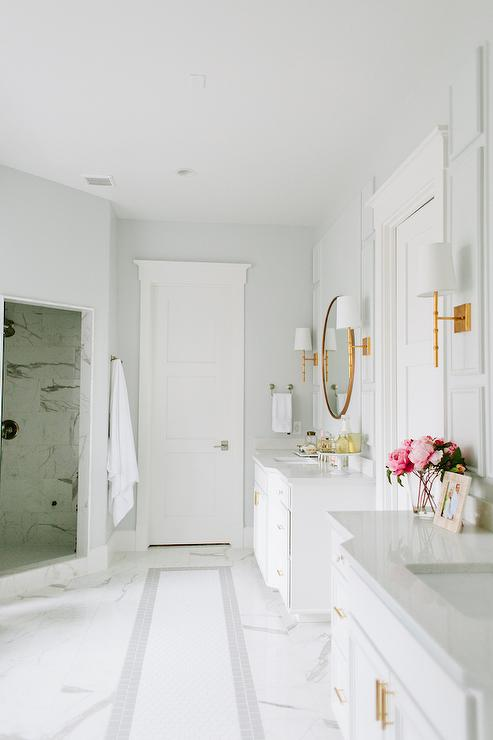 bathroom features walls painted light gray benjamin moore wickham gray