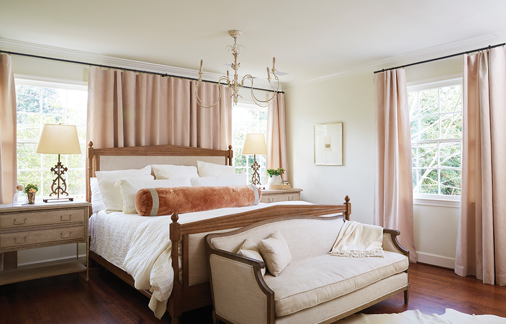 blush pink curtains in bedroom transitional bedroom