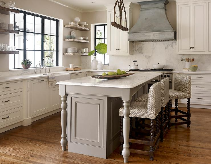 gray kitchen island with turned legs transitional kitchen kitchen island legs kitchen island legs wood iecob info