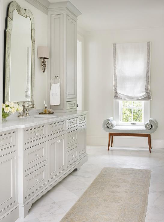 light grey bathroom cabinets with glass knobs transitional bathroom