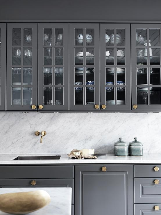 Gray Kitchen Cabinets with Gold Knobs, Contemporary, Kitchen