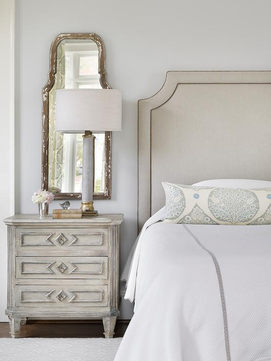 Gray Headboard And Gray Nightstand Traditional Bedroom