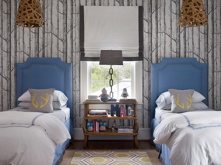 Kids Bedroom Headboard blue and gray boys bedroom with baseball headboards - transitional