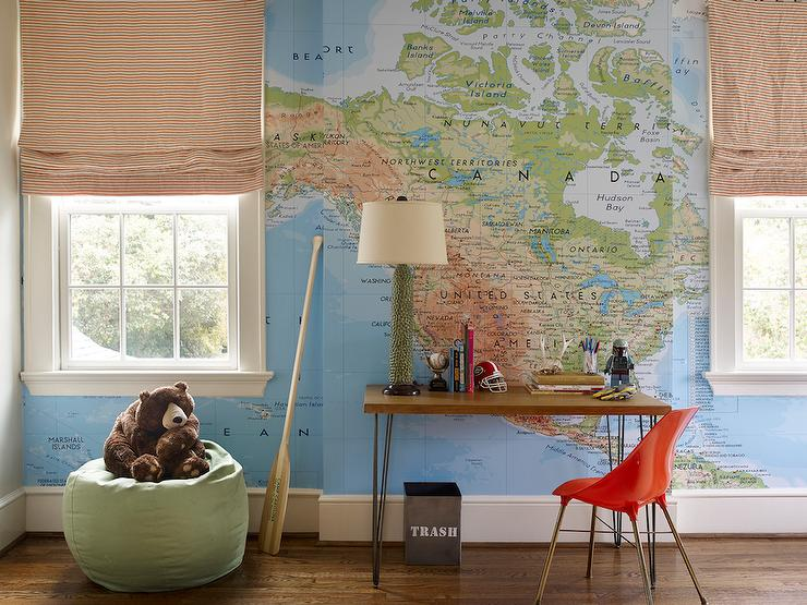 Kids Room with World Map Wallpaper, Transitional, Boy's Room