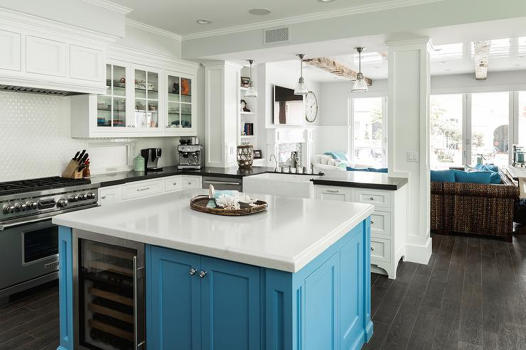 white kitchen turquoise blue island - Square Kitchen Island