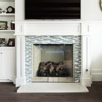 Fireplace Tile Design Ideas slape tile surround simple corner fireplace Blue And Gray Glass Tile Fireplace Surround