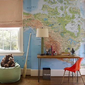 Kids Room World Map Wallpaper Design Ideas - Boys room with maps