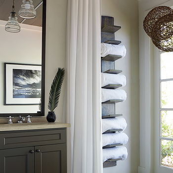 Lake House Bathroom With Vertical Towel Rack