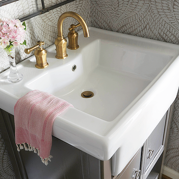 Gray Bathroom with Pink Accents