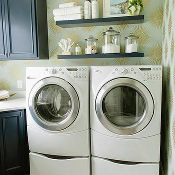 Aqua Laundry Room Wallpaper Design Ideas