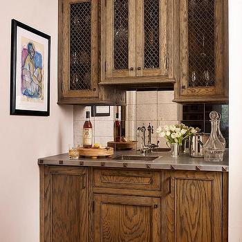 Wet Bar With Mirrored Tile Backsplash
